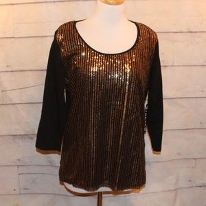 NEW XL Black Shirt Top Gold Sequined Front